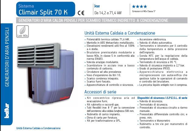 generatore aria calda climair split 70 k